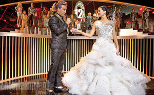 catching fire, jennifer lawrence, caesar flickerman, catching fire wedding dress