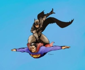 batman riding superman, superman flying, superman batman