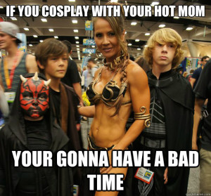 hot mom cosplay, mom cosplay, slave leia cosplay