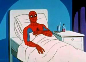 sick spidey, spiderman sick, sick spiderman meme